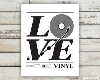 Love Vinyl, Vinyl Record Print, Vinyl Record Art, Love Print, Music Poster, Music Room, Record Collection Print