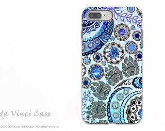 Blue Indian Paisley iPhone 7 PLUS - 8 PLUS Tough Case - Dual Layer Protection - Floral Apple iPhone 7 PLUS Case - Blue Mehndi