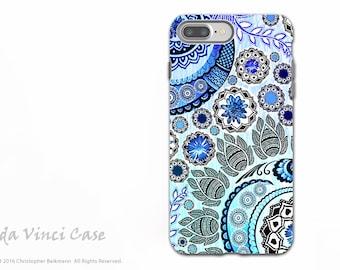 Blue Indian Paisley iPhone 7 PLUS - 8 PLUS Tough Case - Dual Layer Protection - Floral iPhone 7 PLUS Case - Blue Mehndi