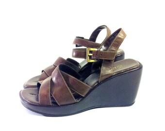 Brown Leather Platform Wedge Sandals 7 - Ankle Strap Wedge Heels 7 - Soft broen leather hippie boho sandals 7 -