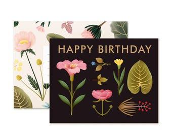 Lush Botany Birthday Card - Black