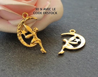 10 charms x fairy on Crescent Moon metal Golden BD28
