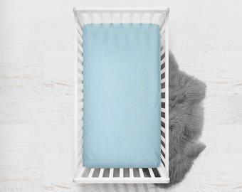 Fitted Crib Sheet Lake Blue. Flat Crib Sheet. Crib Sheet. Toddler Sheet. Baby Sheet. Solid Blue Fitted Sheet. Crib Bedding. Blue Sheet.