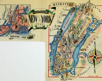 New York City NYC Antique Vintage Pictorial Map