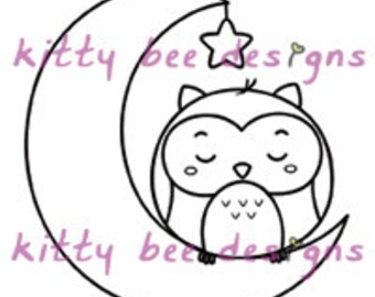 "Kawaii ""Good Night"" Owl Digi Stamp"