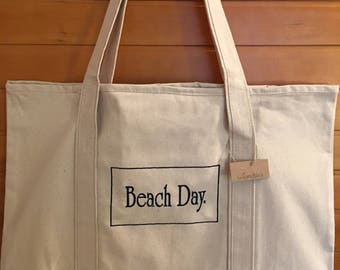 Canvas Tote with Embroidery: Beach Day.