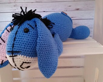 Eeyore Plushie, Stuffed Animal, crochet Eeyore.