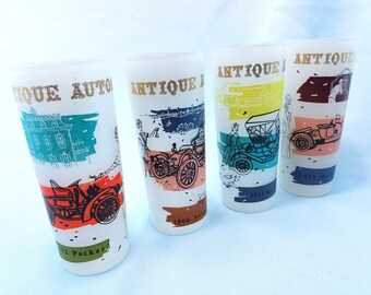 Tumblers, Set of 4 (FOUR), Antique Cars Frosted glasses, Tom Collins, bar ware, man cave, madmen, mid century, automobile glasses, barware