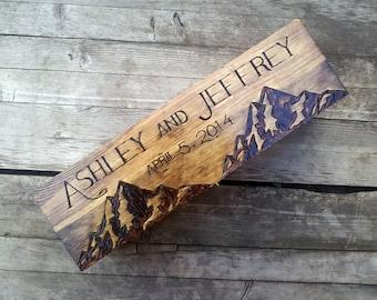 Custom Rustic Wedding Wine Box, First Fight Box, Memory Box, Time Capsule, Anniversary or wedding gift, mountain wine box, wooden wine box