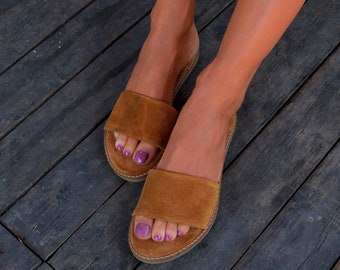 Mustard color sandals, Greek sandals, Suede Leather Slides, Greek Suede Slides, Suede Leather Flats, Suede Slippers, Padded footbed