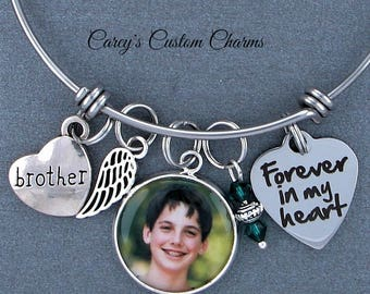 Brother Memorial Keepsake Photo Charm Bracelet, Swarovski Birthstone, Sympathy Gift, Forever In My Heart, Angel Wing, Custom Picture Charm