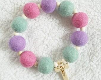 Sweet Spring Felt Ball Decade Rosary