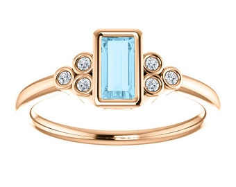 Aquamarine Baguette Diamond Ring, 14K Yellow Gold Gemstone Ring