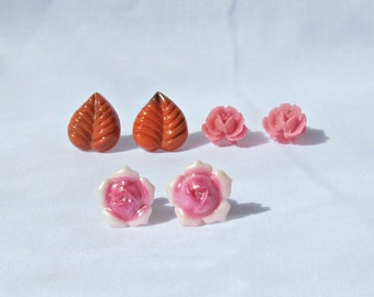 Botanical Earring Set Ear Studs For Women -  Pink Orange Vintage Flower Floral Jewellery Jewelry - Gift Teens Leaf Chunky Party Favour
