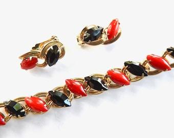 1960s Red and Black Navette Rhinestone Bracelet and Earring Set