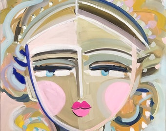 Warrior Girl PRINT woman art impressionist modern abstract girl paper or canvas print Katia