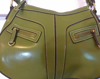 Vintage Man Made Vegan  Green Purse