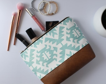 Blue & White Aztec Makeup Bag, Waterproof Cosmetic Bag, Vegan Leather Makeup Bag, Blue Toiletry Bag, Aztec Cosmetic Bag