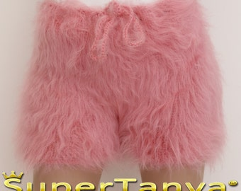 Made to order hand knit shorts, thick and fuzzy mohair short pants in pink by SuperTanya