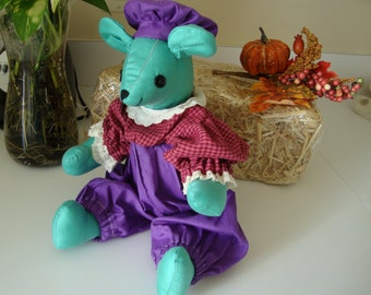 """Mouse Doll Victorian Clothes Plush Stuffed Animal Handmade 14"""""""