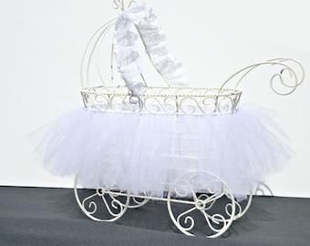 Baby Carriage, Christening Centerpiece, Baby Shower Centerpiece, Vintage Carriage with White TuTu, Baby Shower Cardholder, Nursery Decor