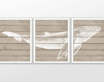 Baleine à bosse Faux bois impression Set de 3 - salle de bain baleine Art - baleine à bosse affiche - baleine à bosse-décor de salle de bain - salle de bain baleine impression