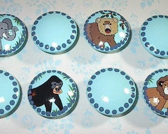 JUNGLE ANIMALS - Boy's Hand Painted - Light Turquoise BLUE - Wooden Drawer Knobs/Pulls - Set of 8