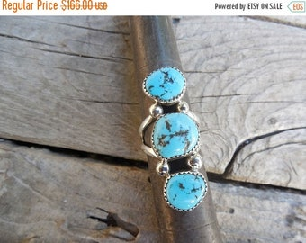 ON SALE Turquoise ring handmade and signed in sterling silver by an American Indian with blue turquoise from the Kingman mine
