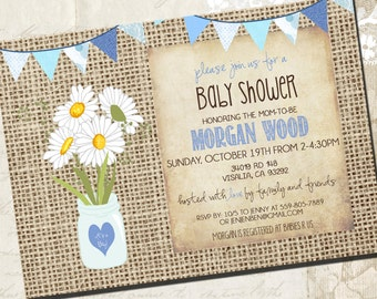 Rustic BABY BOY Shower Invitation, mason jar baby shower,  PRINTABLE _1165