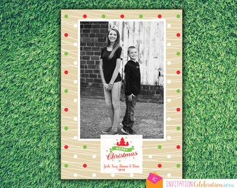 Modern Christmas Card - Family Photo Holiday Card - Simple - Choose Digital or Printed with Envelopes FREE SHIPPING