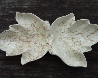 White and Brown Porcelain Leaf Bowl