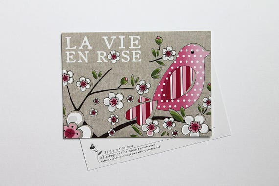"""Illustrated postcard by squash Pirate """"my vie en rose"""""""