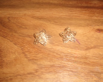 vintage clip on earrings goldtone filigree flower