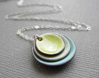 Citron Yellow Tea Green  Mint Modern Minimalist Enamel Necklace Sterling Silver