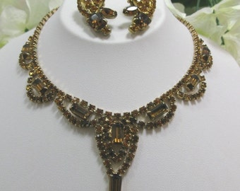 Vintage Topaz Rhinestone  Necklace & Earrings Set