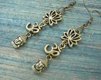 yoga earrings buddha lotus flower ohm om meditation Indie Zen New age Namaste  in gypsy hippie hipster yoga belly dancer  style