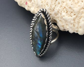 Labradorite Ring, Size 7 Sterling Silver Handmade Stone Ring, Marquis Shape Ring, Handcrafted Artisan Metalsmith Ring, Bohemian Ring