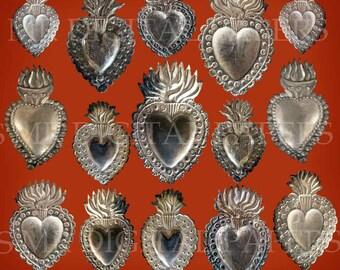 Ex Voto Sacred Heart / Sacred Heart Reliquary / Sacred Heart Jesus / Sacred Heart Download / Lot of 15 / Sacred Heart / Silver Sacred Heart
