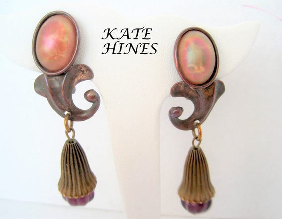 Kate Hines Earrings,  Modernist Mixed Metal, Glass Base, Clip Ons - Designer Earrings