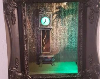Haunted Clock - Haunted Mansion Collection, Disney, Pop Art, 3D, Shadowbox, Original, One-of-a-Kind, Handmade