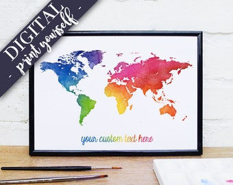 Digital world map custom quote map print adventure map digital world map rainbow watercolour map custom quote print bright wall art gumiabroncs Gallery