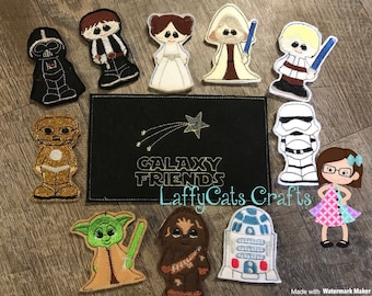 Handmade Galaxy Friends Finger Puppet Set, Finger Puppets, Puppets, Star Finger Puppets, Star Wars Inspired Finger Puppet Set, Puppet Set