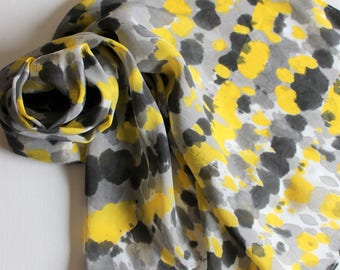 Hand Painted Silk Scarf - Handpainted Scarves Yellow Black Gray Grey Silver White Tie Dyed Dye Bumblebee Bee Sun Bright