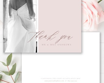 Wedding Photographer Thank You Card, Calligraphy, Photographer Templates, Photoshop Template, INSTANT DOWNLOAD!