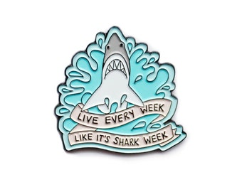 Live every week like it's shark week 30 Rock enamel lapel pin
