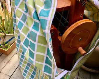 """Folding floor  loom bag  to fit  any of Saori full size  wx60 or sx60 looms """" Fresh aqua green grid """"  : Saorisantacruz"""