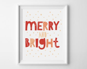 Red Christmas printable, wall art decor, Merry and bright sign, Holiday poster, Instant download, Winter nursery print, typographic quote