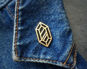 Gold & Black Rupee Pin