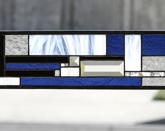 COOL JAZZ - Art Deco Style Glass Window Panel, Small Sidelight or Transom, Cobalt Blue, White, Clear, Black, Geometric, Art Nouveau