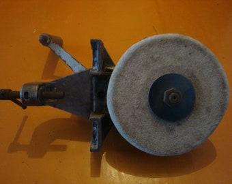 Vintage knife sharpener Old hand crank sharpening stone Hand crank tool grinder Vintage sharpening stone  Old knife sharpener Hand stone
